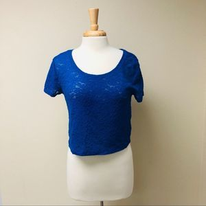 Express Embroidered Lace Crop Top Brilliant Blue M
